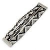 Silver/ Black/ White Glass Bead, Silk Cord Handmade Magnetic Bracelet - 18cm L