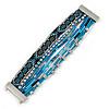 Silver/ Black/ Teal/ Light Blue Glass Bead, Silk Cord Handmade Magnetic Bracelet - 18cm L