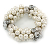 Chunky Cream Glass Pearl, Grey Crystal Bead Flex Bracelet - up to 18cm L