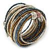 Multistrand White/ Bronze/ Hematite Glass Bead Wrap Flex Bracelet - 19cm L