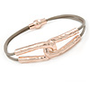 Hammered Double Loop with Beige Leather Cords Magnetic Bracelet In Rose Gold Tone - 20cm L