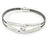 Hammered Double Loop with Light Grey Leather Cords Magnetic Bracelet In Light Silver Tone - 20cm L