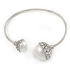 Crystal Double Pearl Bead Bar Slip On Bracelet In Silver Tone - Adjustable