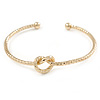 Open Heart Textured Slim Gold Plated Cuff Bracelet - Adjustable