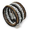 Jet Black Glass, Silver & Bronze Tone Acrylic Bead Coiled Flex Bracelet - Adjustable