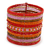 Wide Snow Red/ Orange/ Carrot/ Bronze/ Pink Glass Bead Flex Bracelet - Adjustable - 60mm W