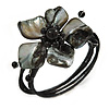 Ash Black Shell Bead Flower Wired Flex Bracelet - Adjustable