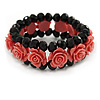 Romantic Pink Resin Rose, Black Glass Bead Flex Bracelet - 18cm L