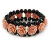 Romantic Dusty Pink Resin Rose, Black Glass Bead Flex Bracelet - 18cm L