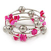 Deep Pink Shell Nugget, Mirrored Ball Bead Multistrand Flex Bracelet - Medium