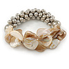 Antique White Shell Mirrored Silver Acrylic Bead Flex Bracelet - 17cm L