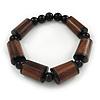 Brown Wood, Black Acrylic Bead Flex Bracelet - 18cm L