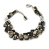 Grey Shell Nugget, Silver Tone Bead Twisted Bracelet - 19cm L/ 3cm Ext
