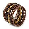 Brown/ Gold Wood, Acrylic Bead Coiled Flex Bracelet - 19cm L