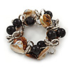 Brown/ Natural Sea Shell Black Acrylic Bead with Silver Tone Metal Links Flex Bracelet - 17cm L