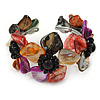 Multicoloured Floral Sea Shell & Simulated Pearl Cuff Bracelet (Silver Tone) - Adjustable
