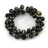 Black/ Gold Wood Bead Cluster Flex Bracelet - 18cm L