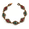 Vintage Inspired Turkish Style Crystal, Acrylic Bracelet In Bronze Tone (Green, Burgundy Red) - 17cm L