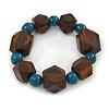 Brown Wood, Teal Ceramic Beads Flex Bracelet - 18cm L