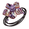 Purple Shell Bead Flower Wired Flex Bracelet - Adjustable