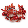 Stunning Red Shell, Faux Pearl Bead Floral Flex Cuff Bracelet - 19cm L