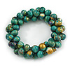Teal Green/ Gold Wood Bead Cluster Flex Bracelet - 17cm L