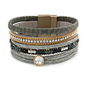 Stylish Grey Faux Leather with Crystal Detailing Magnetic Bracelet In Gold Finish - 18cm L