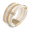 Stylish White Faux Leather with Crystal Detailing Magnetic Bracelet In Gold Finish - 18cm L