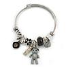 Fancy Charm (Bear, Heart, Flower, Crystal Beads) Flex Twisted Cable Cuff Bracelet In Silver Tone Metal - Adjustable - 17cm L
