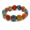 Multicoloured Ceramic Heart Bead Stretch Bracelet - 17cm L