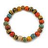 8mm Multicoloured Ceramic Round Bead Stretch Bracelet - 17cm L