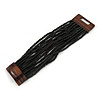 Black Glass Bead Multistrand Flex Bracelet With Wooden Closure - 19cm L