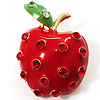 Hot Red Rhinestone Enamel Apple Costume Brooch