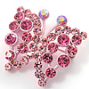 Pink Crystal Batterfly Pin Brooch