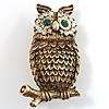 Copper Crystal Owl Brooch
