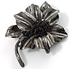 Jet-Black Diamante Oversized Vintage Flower Brooch