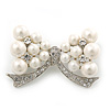 White Faux Pearl Bow Brooch
