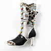 Charcoal Crystal High Boot Pin Brooch