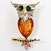 Exquisite Amber Coloured Acrylic Owl Brooch