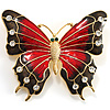 Oversized Gold Red Enamel Butterfly Brooch