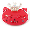 Pink Plastic Queen Cat Brooch