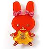 Pretty Orange Bunny Girl Plastic Brooch
