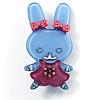 Pretty Blue Bunny Girl Plastic Brooch