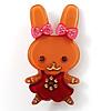 Pretty Ligth Brown Bunny Girl Plastic Brooch