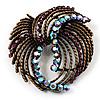 Vintage Bow Crystal Bronze Brooch