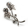 Elegant Clear Crystal Floral Brooch (Silver)