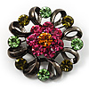 Vintage Crystal Floral Brooch (Black)