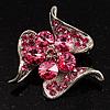 Dazzling Pink Crystal Floral Brooch
