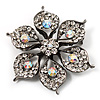 Sparkling Clear Crystal Flower Brooch (Black Tone)