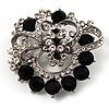 Striking Diamante Corsage Brooch (Black&Clear)